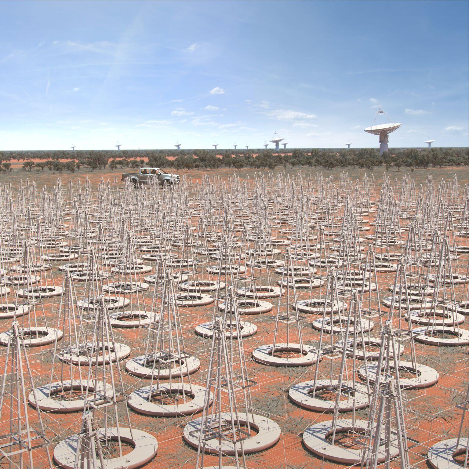 Vue d'artiste des antennes de SKA-LOW